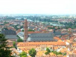 Heidelberg, Germany, view from the Schloss over the Jesuitenkirche. Photographed by Mira Mazurkiewicz, Aug. 2005.